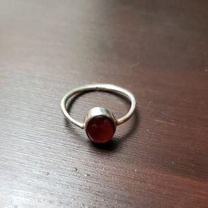 Genuine Silver and Garnet Ring